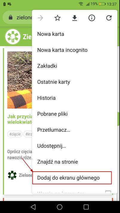 zrzut ekranu z przyciskiem Dodaj do ekranu głównego
